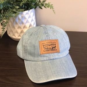 LEVI Denim Ball Cap with Leather Patch